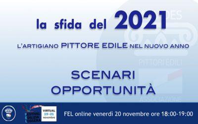 """20 novembre ore 19.00 webinar: """"L'artigiano Pittore Edile nel 2021, scenari e opportunità"""""""